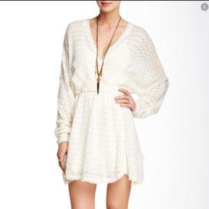 FREE PEOPLE knit dress Snug Bug ivory tassels XS